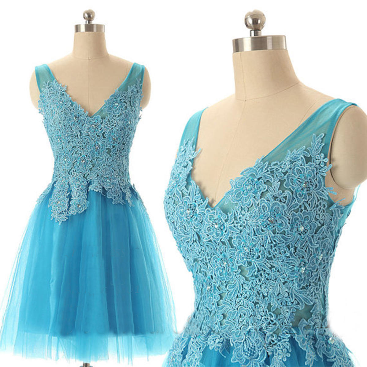 Blue prom dress, short prom dress, lace prom dress, cheap prom dress ...