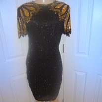 Vintage Black and Gold Sequins Dress Size 8!