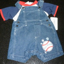 Overalls with Baseball and Matching Shirt-NEW-Little Rebels Size 18 Months