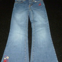Denim Jeans with Flowers-Gap Kids Flare Stretch Size 5 Slim