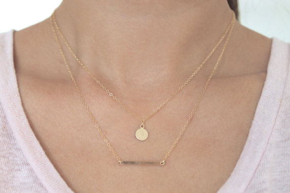 Simple Gold Filled Layered Necklace Set Minimalist Jewelry