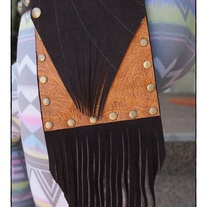 Tan Tooled & Brown Suede Envelope fringed Hip Pocket