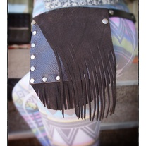 Choco-Brown Leather & Suede Wave fringed Hip Pocket