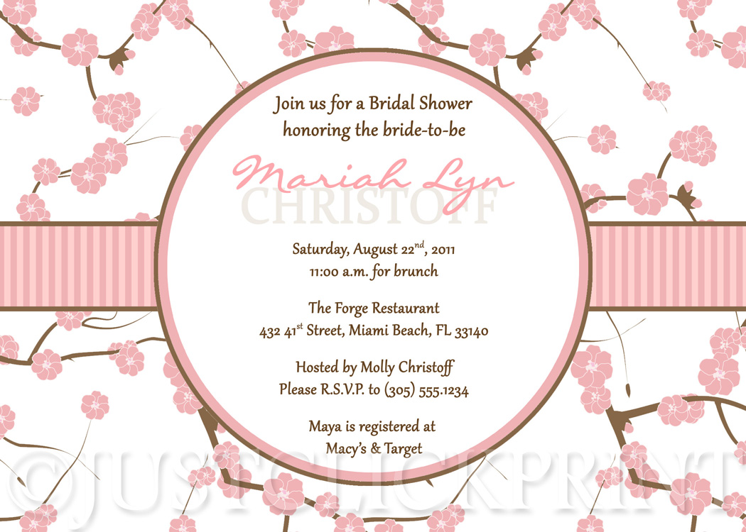 Cherry Blossom Bridal Shower Invitation Printable · Just Click Print ...