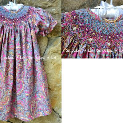 Addie renee smocked purple paisley pearl dress