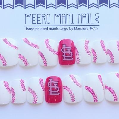 Red White Stl Cardinals Baseball Reusable Press On Nails Meero