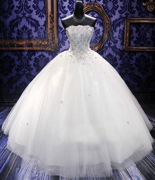 Diamond Crystal Adorned Strapless Ball Gown Wedding Dress