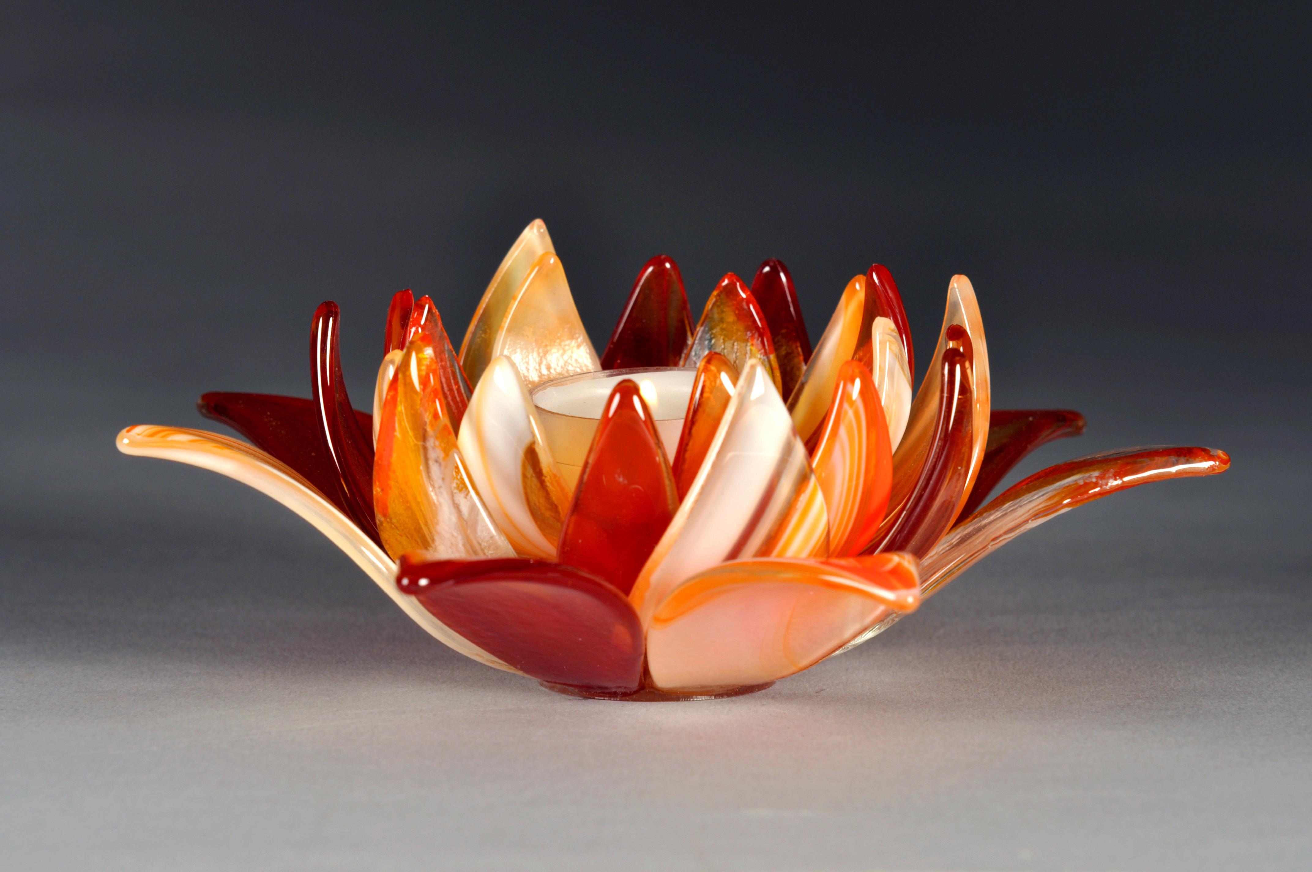 Light dark orange fusers reserve open lotus candle holder glass light dark orange fusers reserve open lotus candle holder izmirmasajfo