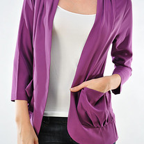 Purple Fuschia Thin Blazer Spike Stud Woven Jacket Open-Front Cardigan Pocket