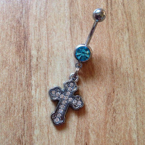 Rhinestone Cross Belly Ring