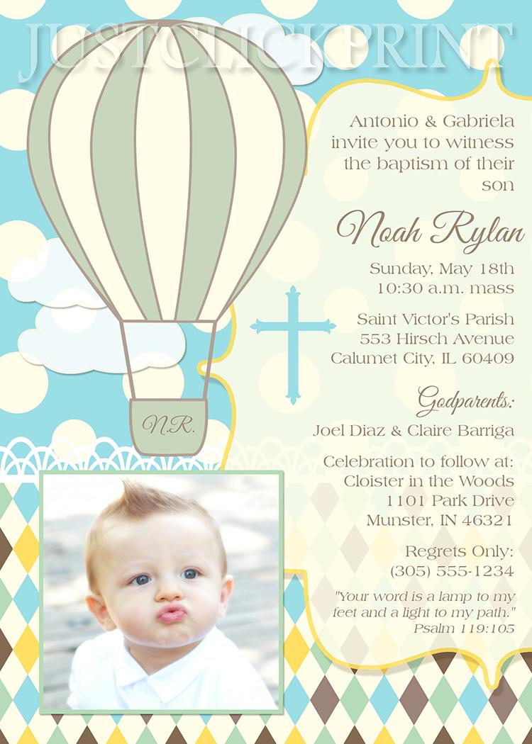 Hot Air Balloons Christening Baptism Dedication Invitation ...