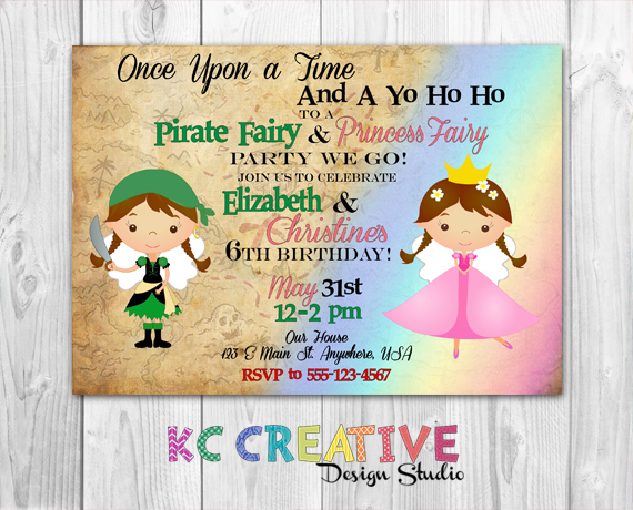 Pirate Fairy and Princess Fairy Custom Birthday Party Invitation – Pirates and Princess Party Invitations