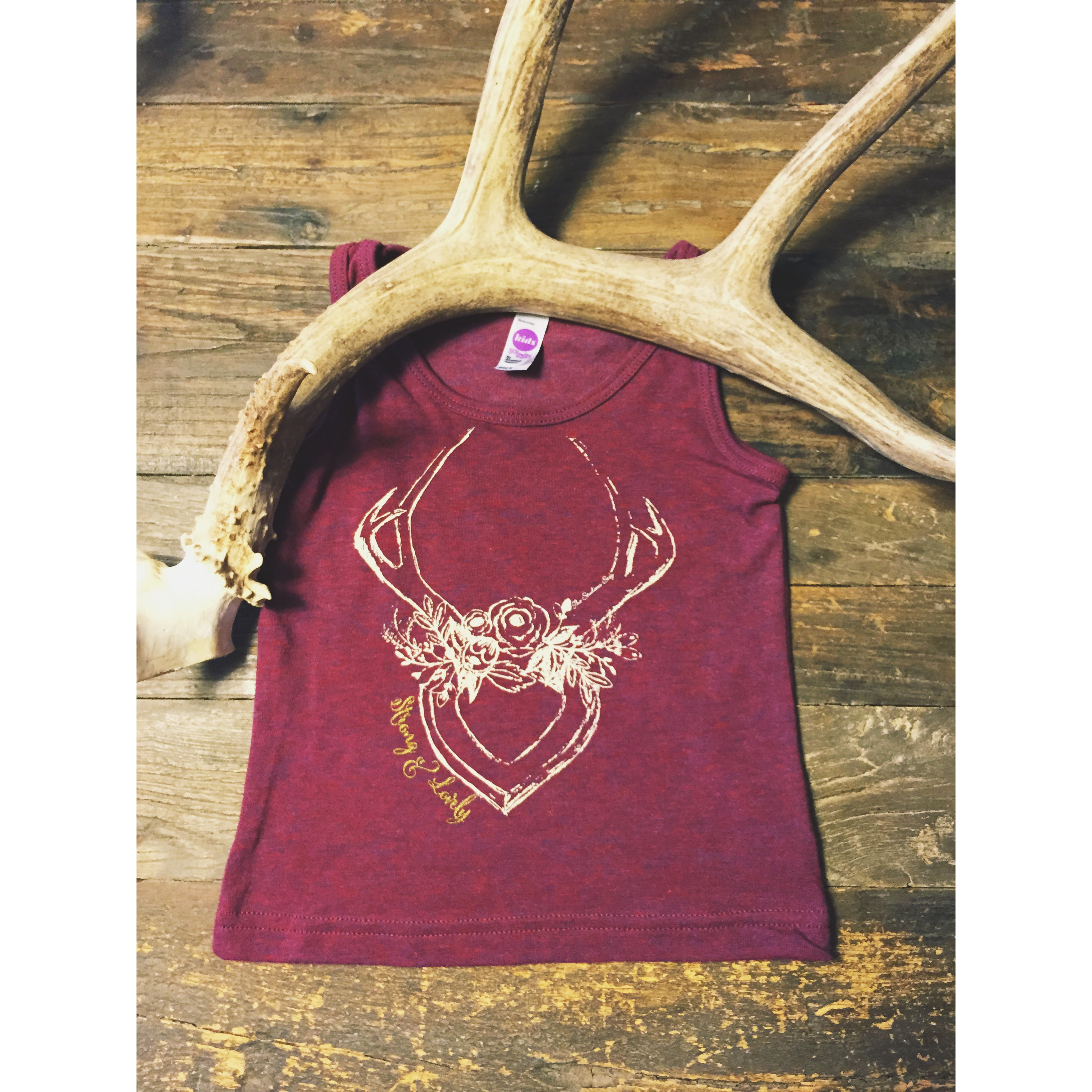 fbea0c1880 STRONG & LOVELY Floral Antlers Kids tank · The Stag & The Swan ...