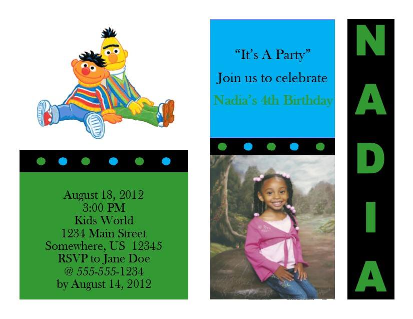 Sesame Street Birthday Invitation 1 Bert Ernie