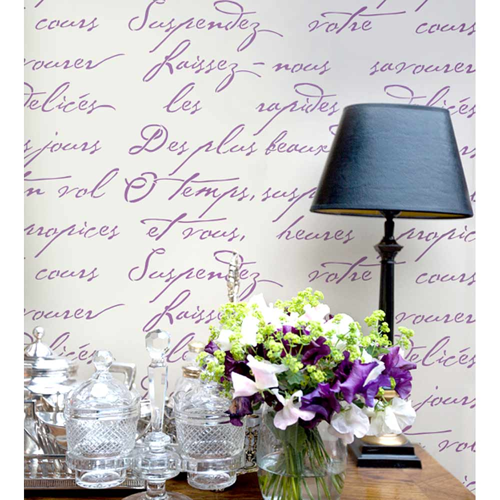 French poem allover stencil pattern typography stencil for Best brand of paint for kitchen cabinets with love letters wall art