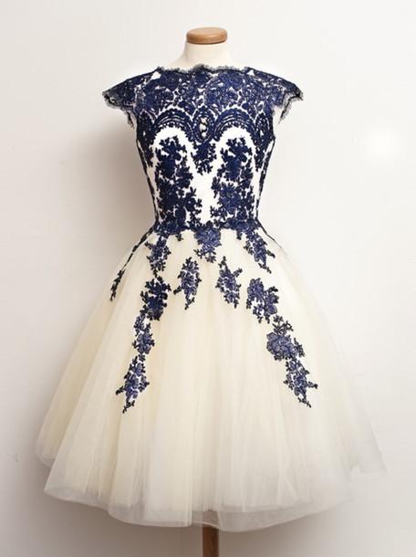 White And Blue prom dress,homecoming dress,Custom prom dresses,Round ...