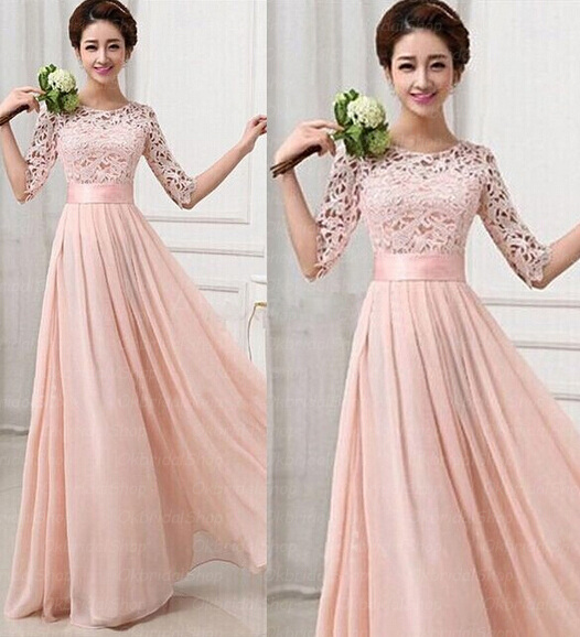 Lace bridesmaid dresses long sleeve bridesmaid dresses for Long sleeve chiffon wedding dress