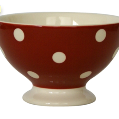 Campagne red bistro dots bowl 3 wick candle