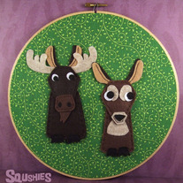 Felt Wall Art Hoop – Moose and Deer