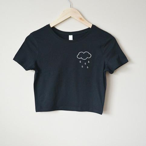 Rain Cloud Crop Top Black On Storenvy