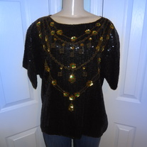 Vintage Black and Gold Sequins Chain Blouse Size XL!!