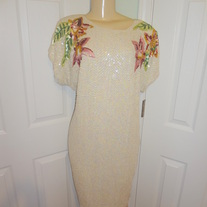 SOLD OUT!! Vintage Plus size Sequin Cream Flower Dress Size 18!