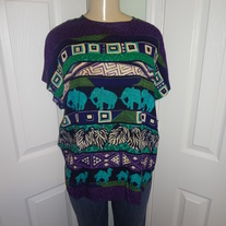 Vintage Purple/Teal Elephant Top Size L/XL!