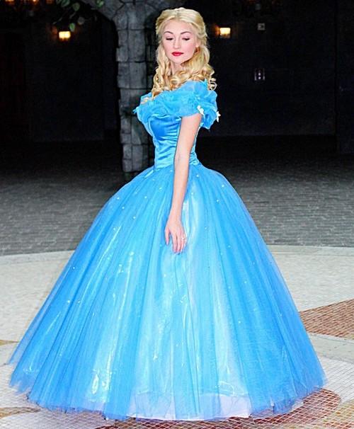 P143 Movies Cosplay Costume Cinderella Dress Princess Iridescent WITHOUT  PETTICOAT
