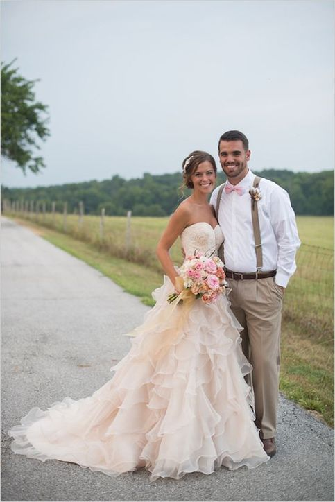 Modern Country Chic Wedding Dress : Champagne wedding dress long ruffles lace tiered summer gown