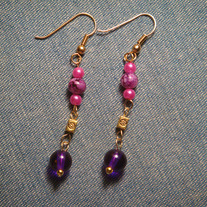 Purple & Pink Dangle Earrings