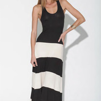 Colorblock Black & White Biscot Jersey Long Tank Maxi Dress Striped SML