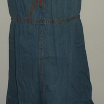 Denim Dress with Brown Straps-NEW-Motherhood Maternity Size Small GS513
