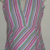 Pink/Green Multi Color Stripe Sleeveless Shirt-8 Maternity Size Small  GS513