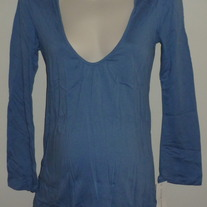 Blue Hooded Long Sleeve Top-NEW-Liz Lange Maternity Size Small  GS513