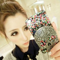 New Bling Metal Skull Colorful Crystals iPhone Case