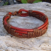Woven Red Leather and Brown Hemp Bracelet
