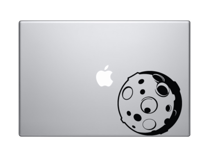 Car Tablet Vinyl Decal Science Cool Detailed Moon with Craters Cartoon