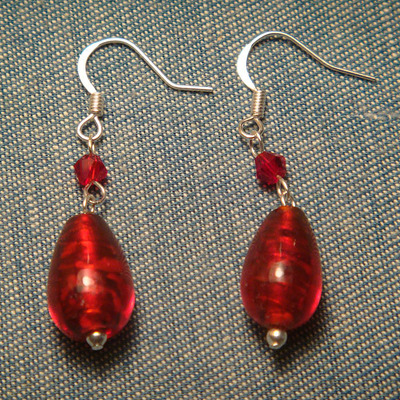 Red glass drop earrings with crystal