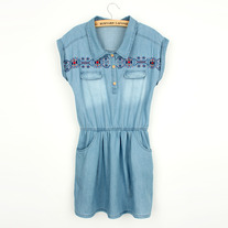 Embroider denim dress