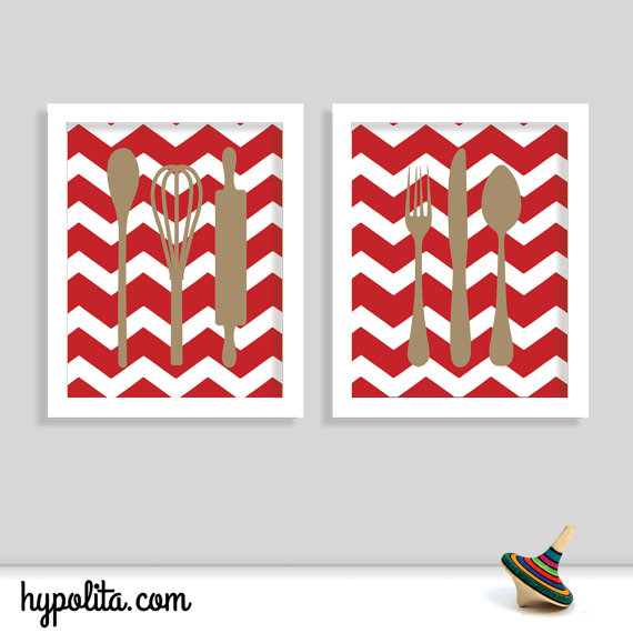 Http Www Hypolita Com Collections 249080 Home Decor Products 1498234 Modern Kitchen Wall Decor Utensils Silverware Set Of Two 8x10 Chevron P