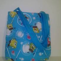 Blue Spongebob and Friends Cotton Tote Bag
