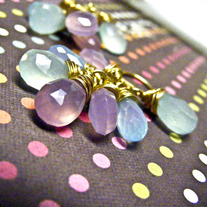 Chalcedony Cluster Goldfill Dangle Earrings