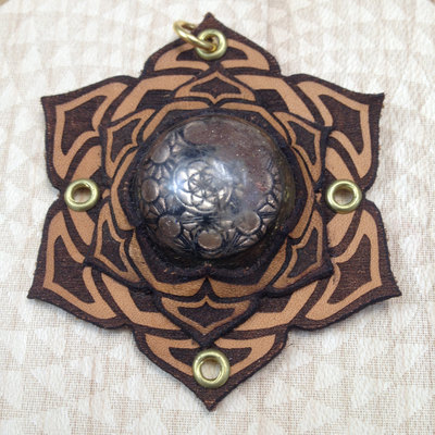 "Sacred geometry orgonite pendant  ""hex flower"""