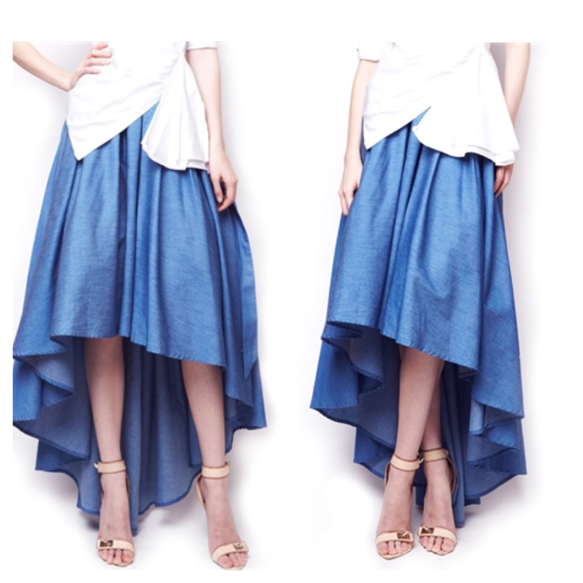 denim hi low skirt 183 ross unit llc couture boutique
