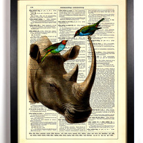 Image of Rhino With Bird Friends, Vintage Dictionary Print, 8 x 10