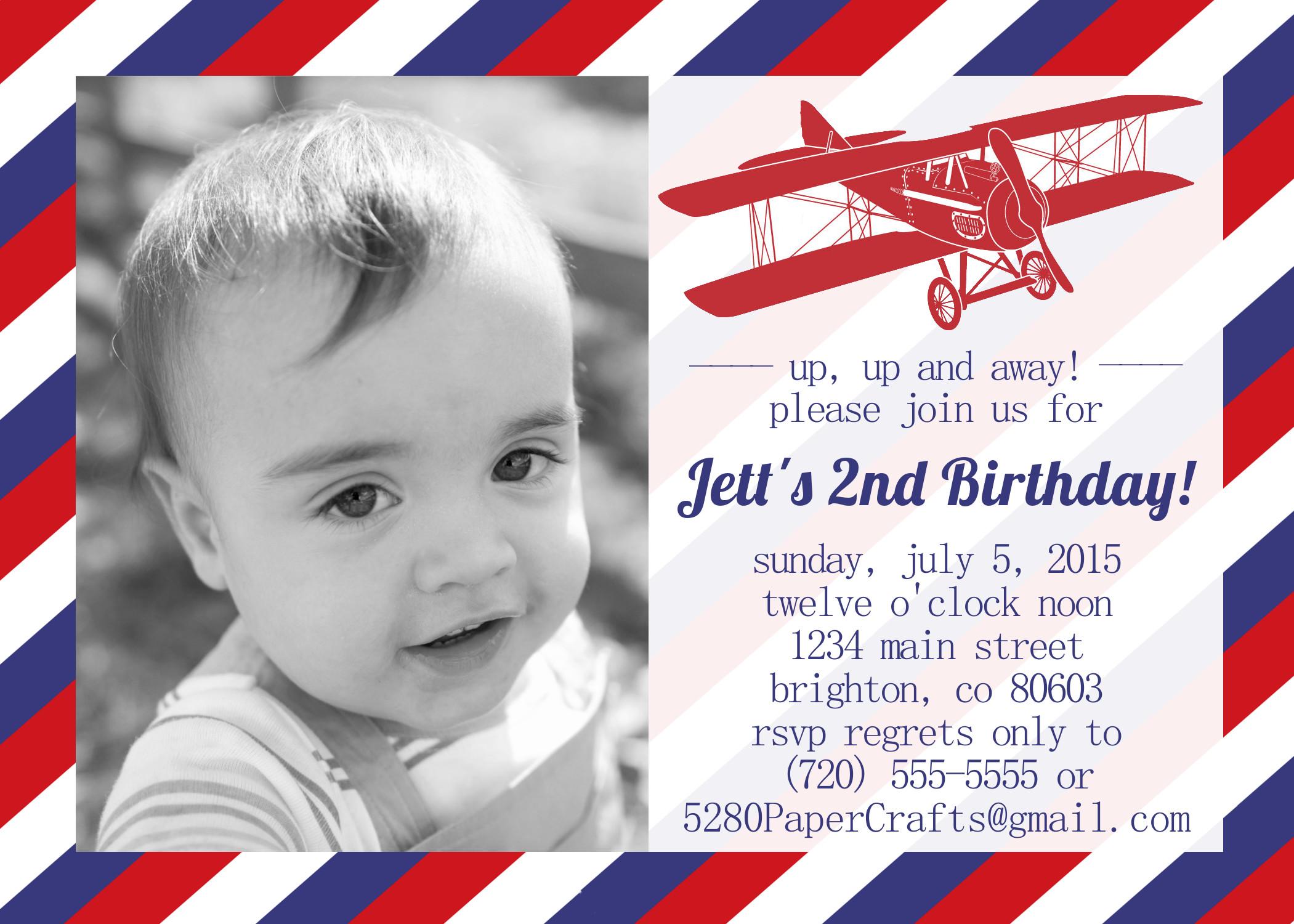 Vintage Airplane Custom Birthday Invite, YOU Print · 5280 Paper ...