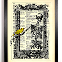 Image of Skeleton In Frame With Birdie, Vintage Dictionary Print, 8 x 10