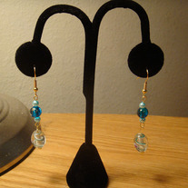 Aqua Millefiori Glass Earrings with Gold