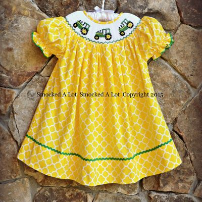 Smocked tractor bishop dress- yellow quatrefoil