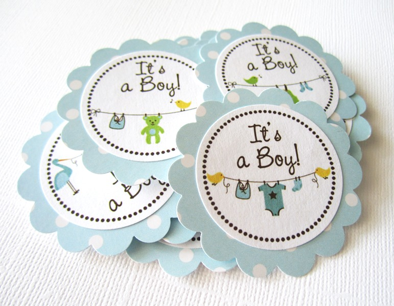 It S A Boy Baby Onesie Baby Shower Tags In Blue Polka Dot